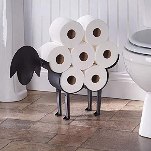 Toilettenpapierhalter aus Schwarz Metall, Freistehend WC Papierhalter Süßer Schafprofil Wand WC Rollenhalter Tier Toilettenrollenhalter