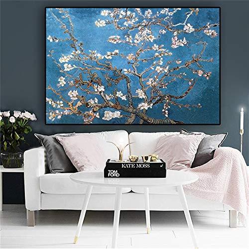 N / A Aprikosenblume Ölgemälde Poster und Druck Leinwand Kunst Wandbild Wohnzimmer Bild rahmenlose Malerei 30cmX45cm