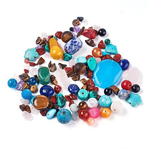 WOWOWO Cuentas de Piedra de Colores Mezclados al Azar Cuentas Sueltas Pulsera Hecha a Mano Materiales Moldeados