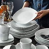 MALACASA, Serie Elisa, 60 TLG. Set Tafelservice Porzellan Kombiservice mit 12 Kaffeetassen, 12 Untertassen, 12 Dessertteller, 12 Suppenteller und 12 Essteller - 8