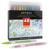 ARTEZA TwiMarker Set, 48 Colored Markers, Dual Tip (Fine 0.4 mm tip and...
