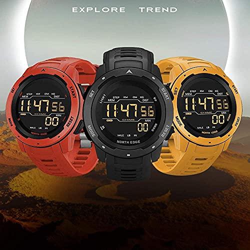 Reloj inteligente al aire libre multifunción, reloj digital de los deportes 50M impermeable calorías retroiluminada podómetro hombres reloj militar montañismo natación pulsera reloj-rojo