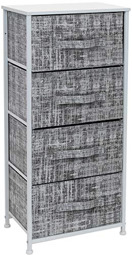 Sorbus Dresser with 4 Drawers - Tall Storage Tower Unit Organizer for Bedroom Hallway Closet College Dorm - Chest Drawer for Clothes Steel Frame Wood Top Easy Pull Fabric Bins GrayWhite