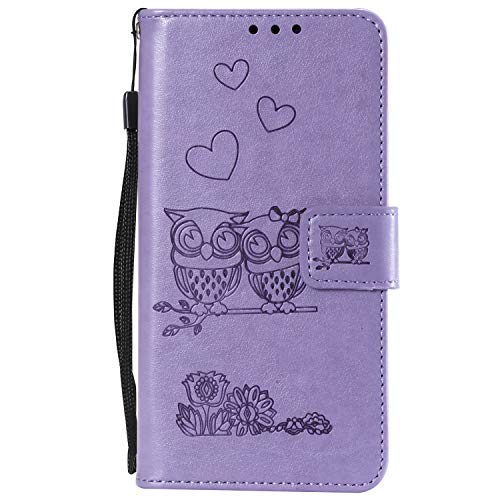 Fantastic Deal! Lomogo Embossed Owl Galaxy J6+ (J6Plus) Core Case Leather Wallet Case with Kickstand...