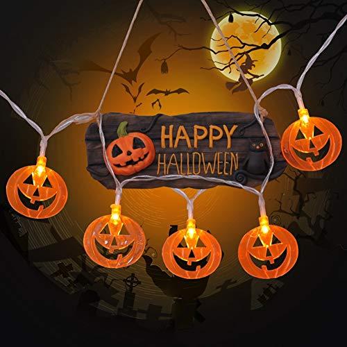 Halloween Lights, Battery Operated Outdoor String Lights,10M 80 LED 3D Pumpkin Lanterns Halloween Decorations, Orange Lantern Halloween String Light for Halloween Party
