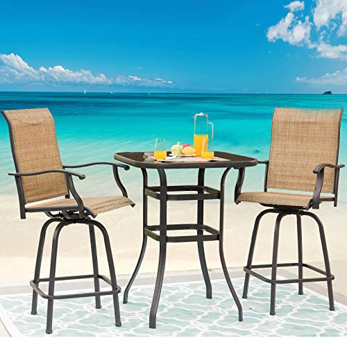 Festival Depot 3-Piece Bar Bistro Outdoor Patio Dining Furniture Sets High Stools 360° Swivel Chairs with Slatted Steel Curved Armrest Square Coffee Side Table Tempered Glass Desktop Rounded Corners