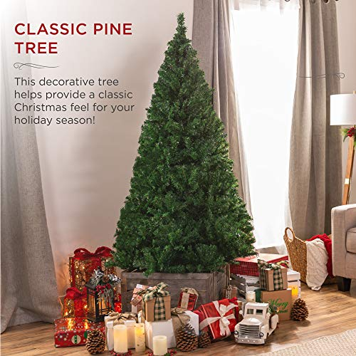 Best Choice Products 6ft Hinged Artificial Christmas Pine Tree Holiday Decoration w/ Metal Stand, 1,000 Tips, Easy Assembly, Green