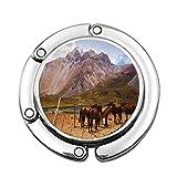 Vista de la montaña en los Andes Desde el Valle de la Región de Las Leñas y Caballos Marrones Sedosos Bolso de Señora Plegable Colgador