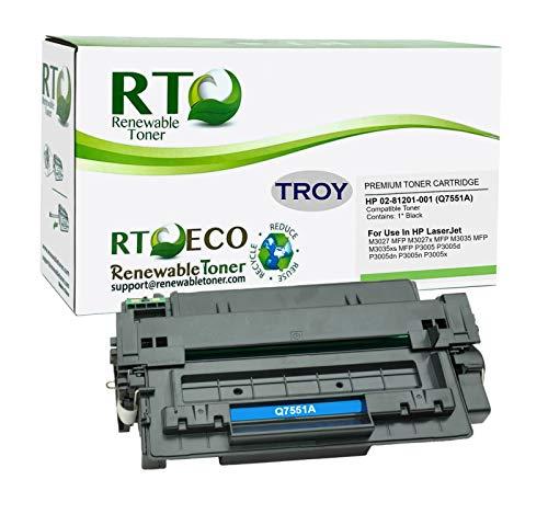 Renewable Toner Compatible MICR Toner Cartridge Replacement for Troy 02-81201-001 HP Q7551A 51A for Laserjet P3005 M3027 MFP M3035