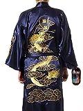 Herren Nachtbekleidung Japanisch Dragon herren Bestickt Nachthemd Traditionell Herren Nachtwäsche Nachtwäsche Kimono Einheitsgröße Senior Dunkelblau mit Gelbgolden Dragon Stickerei Takashi Japan Ideal Geschenk für alle Anlässe