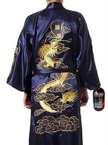 Hombre Desgaste Noche Japonés Dragón bordado Bata De Dormir Tradicional Ropa Kimono 1 tamaño Senior azul oscuro con Golden TAKASHI Japón Regalo Ideal Para Todas las ocasiones