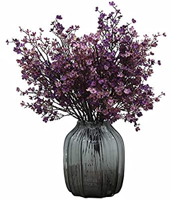 JAKY-Global Babys Breath Fabric Cloth Artificial Flowers 6 Bundle European Fake Silk Plants Decor Wedding Party Decoration Bouquets Real Touch DIY Home Garden (Purple Pink-6pcs)