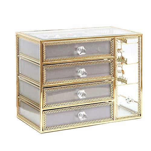 Lichte luxe glazen opbergdoos in Europese stijl, sieradenafwerkingsrek, gegalvaniseerde gouden rand,M2
