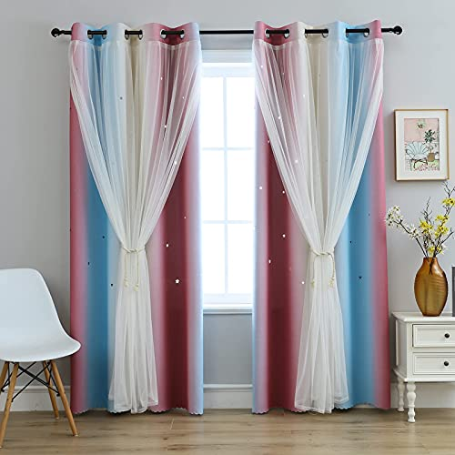 Anytime Star Cutout Curtains for Girls Room,Blackout Kids Curtains Pink Drapes for Windows(Purple/Blue,2 Panels Set,W52 x L84inch)