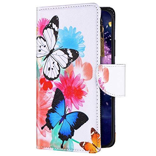 Uposao Kompatibel mit Xiaomi Redmi Note 9 Hülle Flip Schutzhülle Leder Handyhülle Geldbörse mit Reißverschluss 3D Bunt Muster Klapphülle Ledertasche Magnet Kartenfächer,Schmetterling Blume