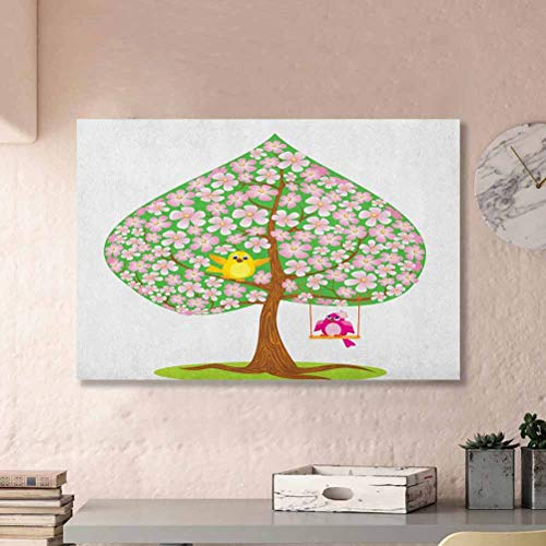 ParadiseDecor Animal Modern Wall Art Heart Shape Spring Tree with Flowers Blossom and Singing Bird Valentines Love Wife Ideas Pink Green Brown L12 x H18 Inch