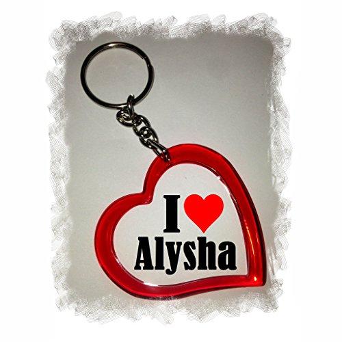"""EXCLUSIVO: Llavero del corazón """"I Love Alysha"""" , una gran idea para un regalo para su pareja, familiares y muchos más! - socios remolques, encantos encantos mochila, bolso, encantos del amor, te, amigos, amantes del amor, accesorio, Amo, Made in Germany."""