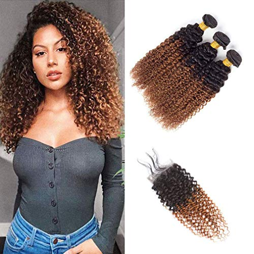 Ombre T1B/30 Bundles with Closure 4X4 Lace Free Part Wet Wavy Kinky Curly Virgin Hair Brown Brazilian Hair 8A Grade Soft Brazilian Hair Extensions(12 14 16 +10)
