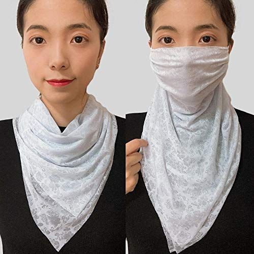 ZAMi Chiffonschal, Sonnenschutzdreieckschal, UV-Schutz atmungsaktiver Schal, Kleiner Schal-blau