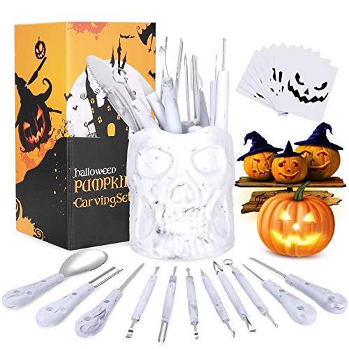 XDDIAS Halloween Calabaza Tallado, 11 Pcs Kit de Talla de Calabaza de Acero Inoxidable con 10 Plantillas de Talla Fáciles para Adultos y Niños