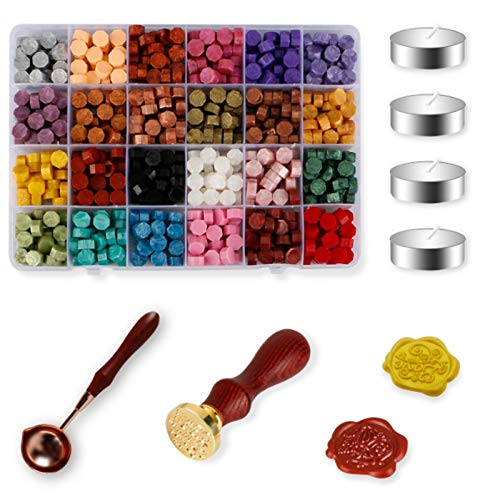 608PCS Sealing Wax, Nafaboig Sealing Wax Sticks with 24 Colors Wax Seal Beads, 4 White Tea Candles, Sealing Wax Melting Spoon and 2PCS Wax Stamp for Wax Sealing, Crafts and Decoration