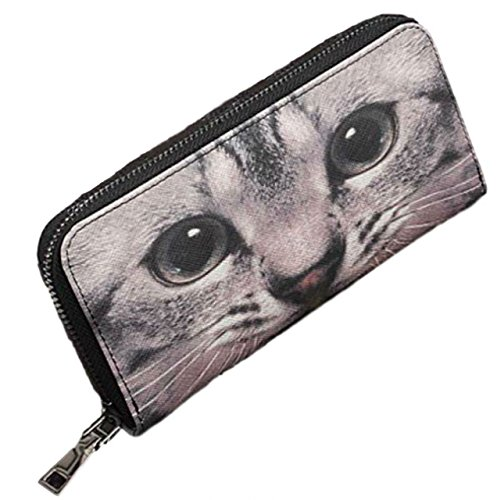 ねこちゃん好きに ネコ 猫 顔 ドアップ 柄 長財布 ラウンドファスナー 開閉 レザー ロング ウォレット レディース サイフ (でか目)の詳細を見る