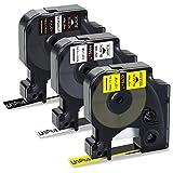 UniPlus 3x Etiquetas Industriales Compatible para Dymo Rhino 18432 18444 1805435 Permanent...