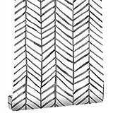 Taogift Papel pintado de vinilo con rayas geométricas blancas y negras para paredes, estantes, armarios, cajones, muebles y calcomanías extraíbles