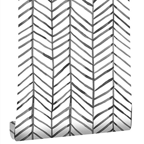 Taogift 177x117 Inches Peel and Stick Vinyl Black and White Striped Geometric Contact Paper Wallpaper for Walls Shelves Cabinets Dresser Drawer Furniture Decal Removable