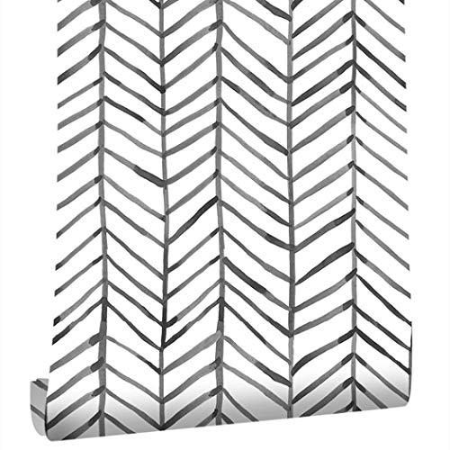 Taogift Papel pintado de vinilo de 17.7 x 117 pulgadas, diseño geométrico de rayas, color blanco y negro, para paredes, estantes, armarios, cajones, muebles, calcomanía extraíble