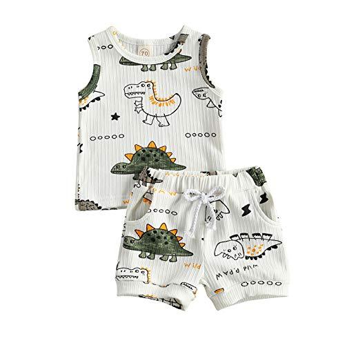 Conjunto de Ropa Infantil para Bebé Niño 2 Piezas Juego Top Chaleco/Camiseta de Manga Corta + Pantalones Cortos Traje Verano Casual con Estampado de Dinosaurios (Blanco, 6-12 Meses)