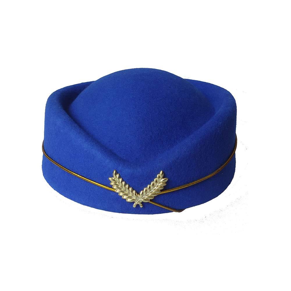 Vektenxi Wool Stewardess Hat Front Desk Etiquette Hat Stage Cap Show Band Aviation Hat Beige