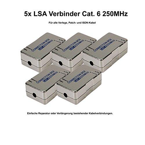 5x Faconet® LSA Verbinder Cat.6 zum Verbinden/Reparieren von Netzwerk, Internet oder ISDN Kabel geschirmtes Gehäuse