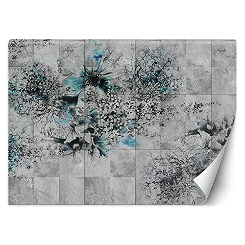 Feeby Papel Pintado Abstracto Patrón Azulejos 250x175 cm Gris Decoración De Pared Fotomural Decorativo Murales Comedores Salones Habitaciones Naturaleza Plantas Flores