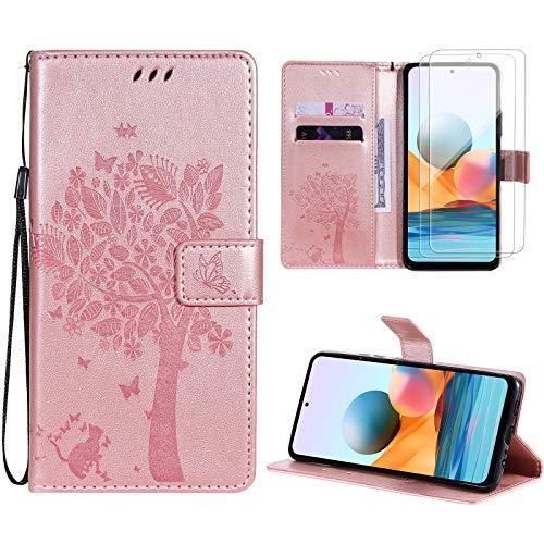 Oududianzi Funda para Xiaomi Redmi Note 10 Pro/Note 10 Pro MAX+ [2 x Protectore Pantalla] Cierre Magnético Flip Case PU Cuero Billetera Carcasacon Tapa Ranuras para Tarjetas y Soporte -Oro R