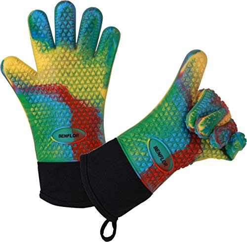 Benflor Cooking Gloves,BBQ Heat Resistant Gloves,Double-layer Silicone Gloves with Extra Cuff, Cotton Oven Mitts Waterproof Non-Slip for Baking and Cooking- Multicolor-1set