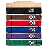 Martial Arts Belt Display Wooden Wall Rack Holder for Karate Taekwondo Belts - 6 Level