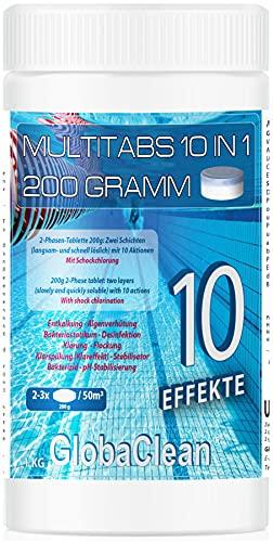 GlobaClean 1 kg Chlor Multitabs 10 in 1 200g | Chlortabletten für Pool | Hochwirksame Poolchemie Poolpflege