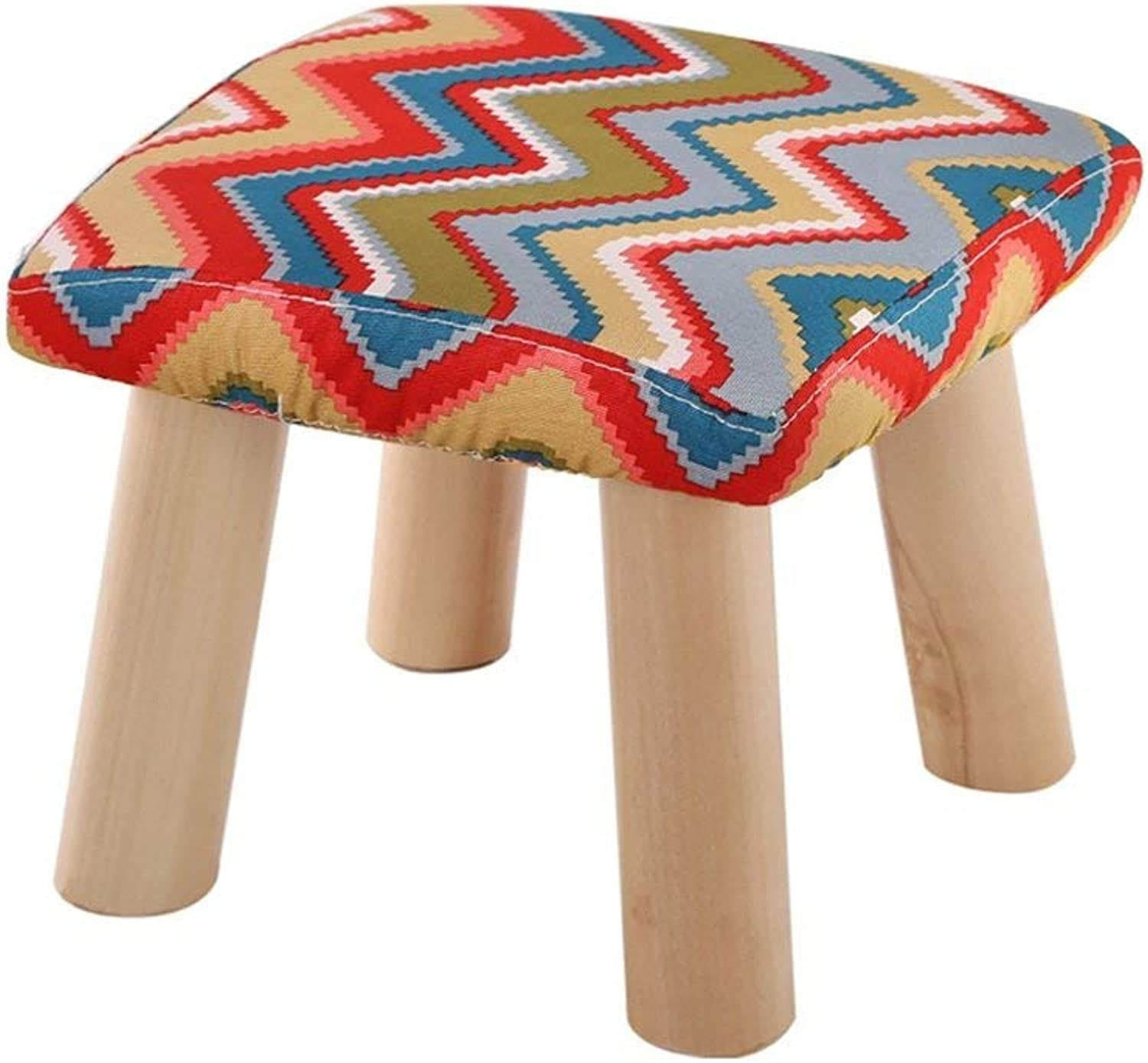 GJD Sofa Stool Solid Wood Stool Cotton and Linen Bench Low Stool shoes for shoes Cloth Washable Household Square Stool Strong and Sturdy Foldable Leather Sofa Stool (color    6)