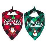 2 Pack Dog Bandana Christmas Classic Plaid Pet Scarf Triangle Bibs Kerchief Merry Christmas Santa Snowman Print Pet Bandana for Small Medium Large Dogs Cats Pets (Style 1)