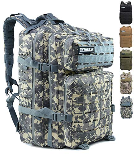 onyorhan Taktischer Rucksack Survival Tactical Militär US Assault Pack Molle Backpack Laserschnitt Trekkingrucksack Wanderrucksack Campingrucksack - 40L (ACU)