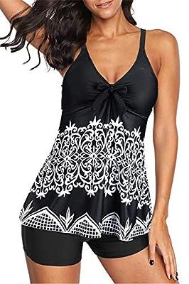 Zando Women's Two Piece Swimsuits Retro Tankini Top with Boyshort Bathing Suit Tummy Control Swimwear Slimming Swimdress for Women Vintage Black Print 3XL (fits like US 18-20)