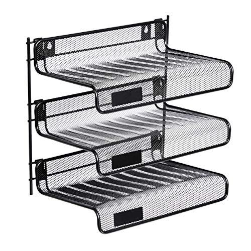 AmazonBasics Mesh Collection 3-Tier Desk Shelf, Letter-Size, Black