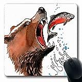 Egoa Mouse Pad Marrón Salvaje Oso Grizzly Naturaleza Captura Salmón Animales Fauna Acuarela Alaska Alaska Trabajo De Pesca 25X30Cm Oblong Durable...
