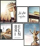 Papierschmiede® Mood-Poster Set Berlin | 6 fertig gerahmte