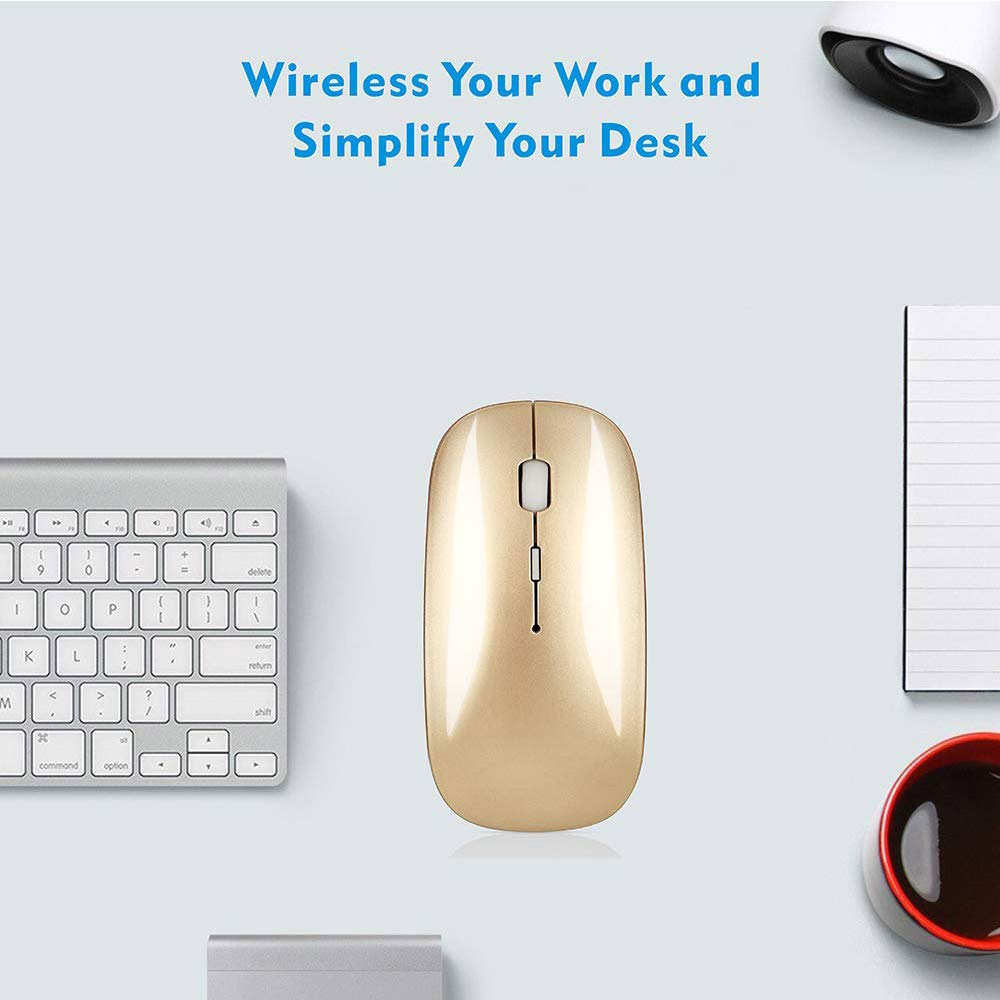 AMERTEER Wireless Mouse Portable Mobile Optical Mice Mute Silent Click Mini Noiseless Mice with USB Receiver for Notebook, PC, Laptop, Computer, Macbook(Gold)