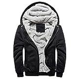 Minetom Homme Hiver Chaud Polaires Doublé Sweats à Capuche Cotton Manteaux Doux Blousons Sweat-Shirts Outwear Tops (EU M, Noir)