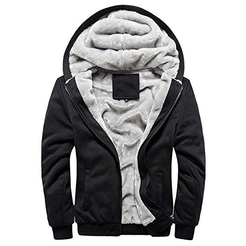Minetom Herren Winter Warm Vlies Gefüttert Kapuzenpullover Baumwolle Mäntel Weich Jacken Sweatshirts Mit Kapuze Outwear (EU XS, Schwarz)