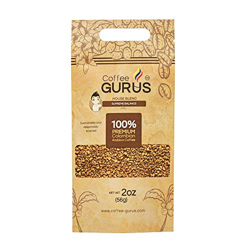 Coffee Gurus 100% Colombian Arabica Premium Coffee - Resealable Pouch of Gourmet, Specialty and Instant Freeze-dried Coffee (2 Oz.)
