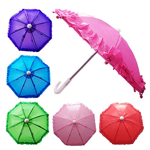 Hikfly Pack of 2pcs Cute Doll Toys Suny Rainy Umbrella for American Girl Dolls and Other 18 inch Dolls Decoration Games (P)